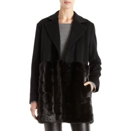 Inspiration, black coat with mink hem