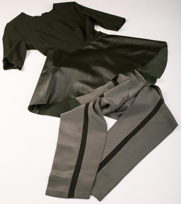 peplum top with silky pants