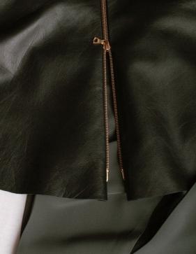 leather peplum, detail of zip closure