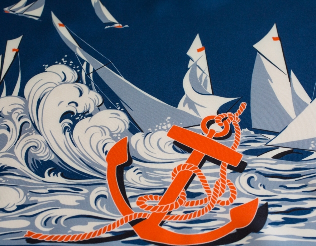 Silk twill fabric (Hermès), detail of the anchor