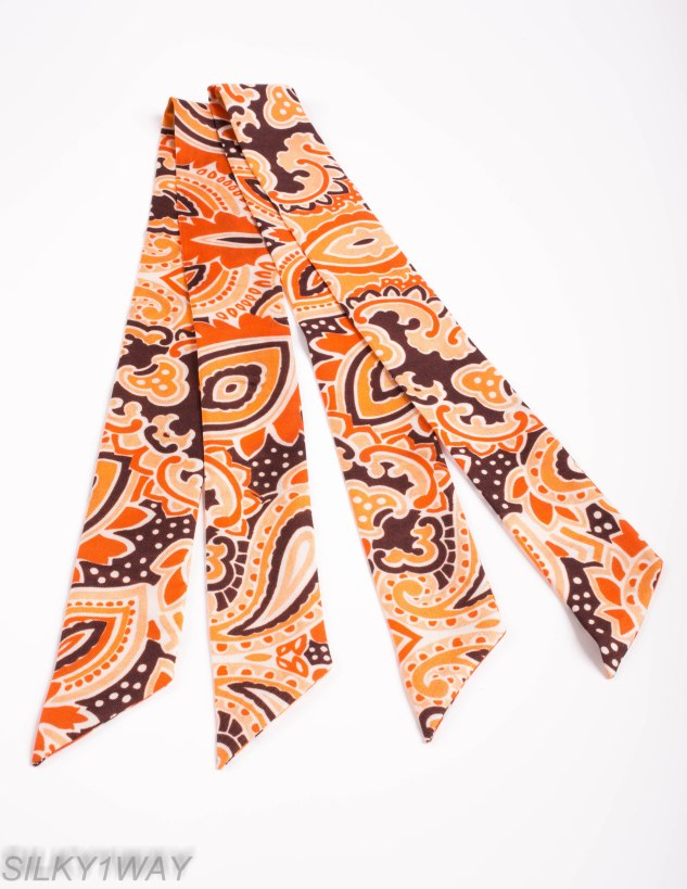 Orange Twilly/Ribbon scarf