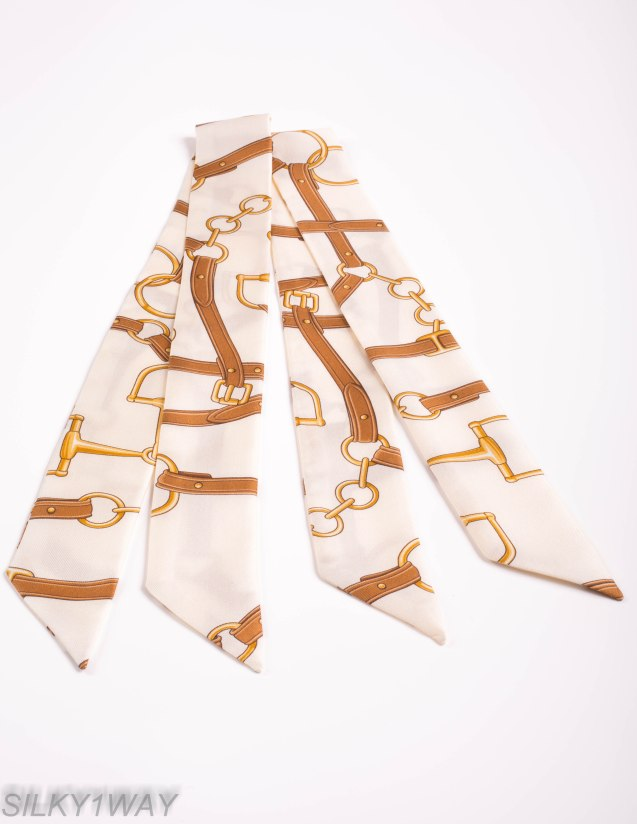 Cream Twilly/Ribbon scarf