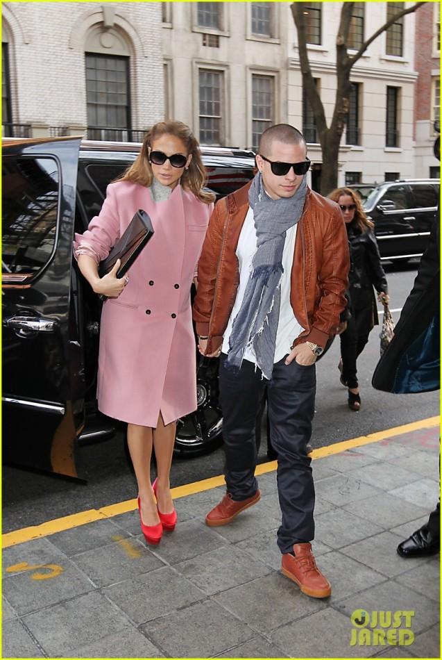 JLo in pink coat